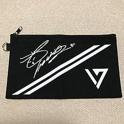 Amazon Fanstown Kpop 韓流 Seventeen 黒い署名のロゴキャンバスは文房具袋 ペンケース 筆箱 S Coups ペンケース 文房具 オフィス用品