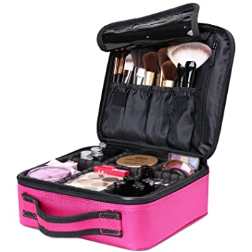 Amazon.com : Travel Makeup Box, Luxspire Cosmetic Makeup Case Professional Makeup Train Case Portable Cosmetic Case Makeup Bag Organizer with Adjustable ...