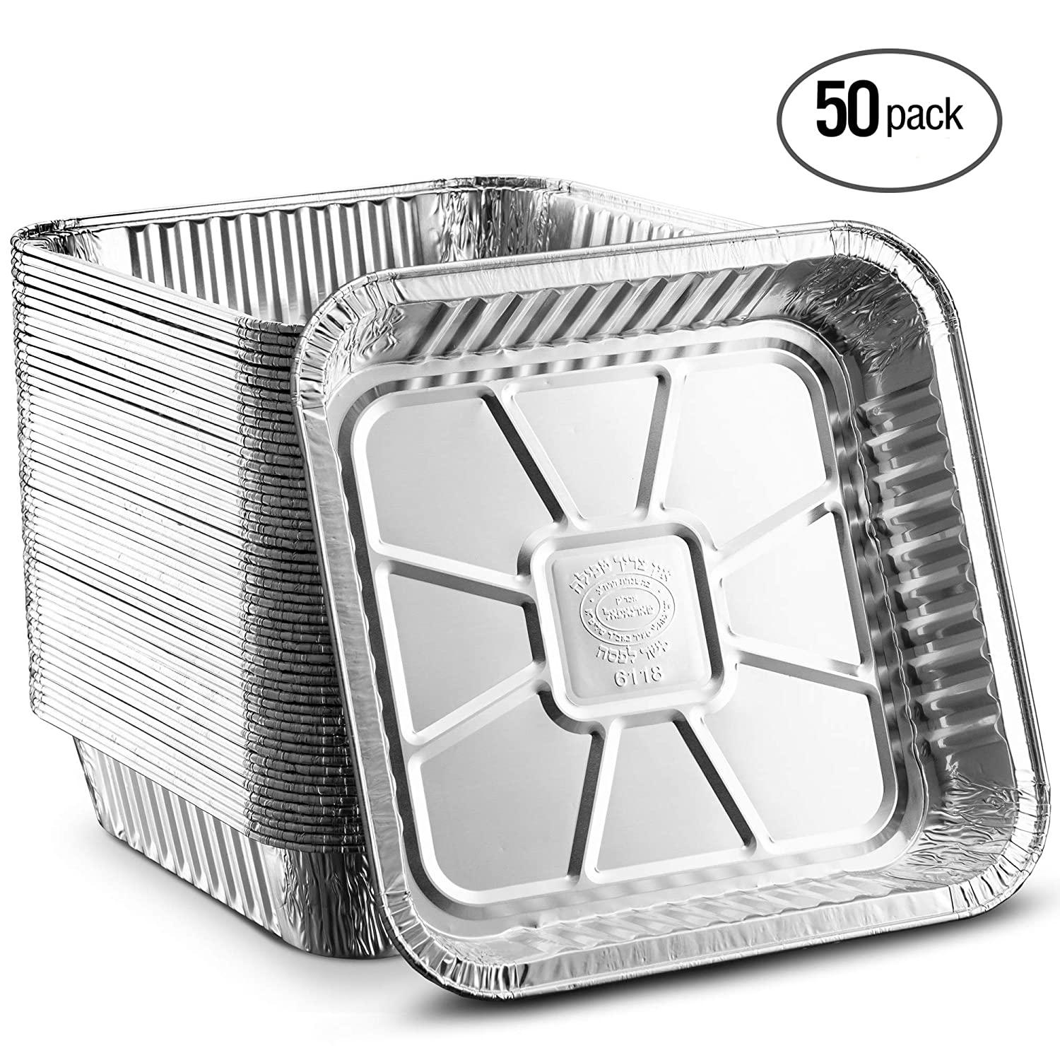 Propack Square baking Pans 8''x8'' Disposable Aluminum Foil Baking Tins For Baking, Cooking, Broiling, Roasting Pack of 20 KCH Corporation