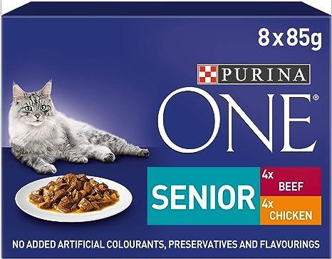 PURINA ONE Comida para Gatos Senior 7+, de Pollo y Carne, 40 ...