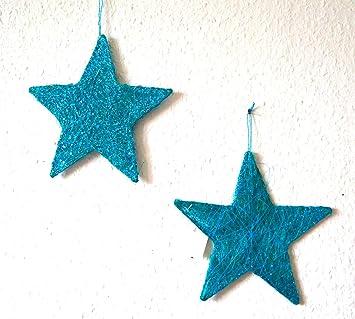 Weihnachtsdeko Sisalstern Stern Sisal Turkis Blau 2 Stuck Ca