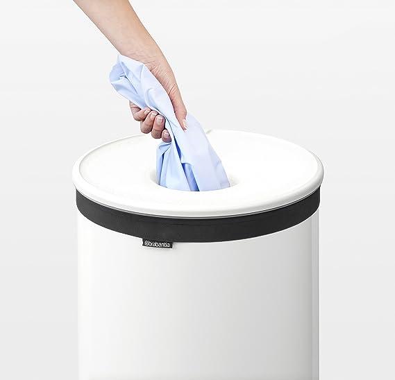 Brabantia - Cesto para Ropa, 60 l, Tapa de plástico Blanca, Cuerpo ...
