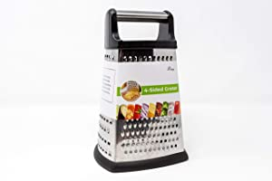 4-Sided Cheese Grater Stainless Steel with Strong Grip and Sharp Blades Professional Box Design with Perfect Slicer, Shredder & Zester For Fruits, Vegetables, Cheeses, Carrot Etc.