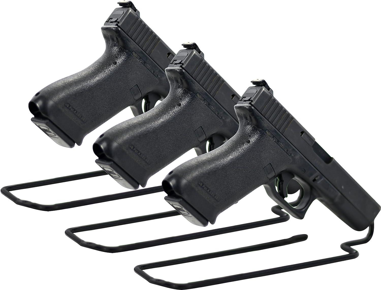 Boomstick Gun Accessories Stand Style Vinyl Coated Metal Handgun Pistol Rack (Pack of 3), Black BOOM-10011-S3