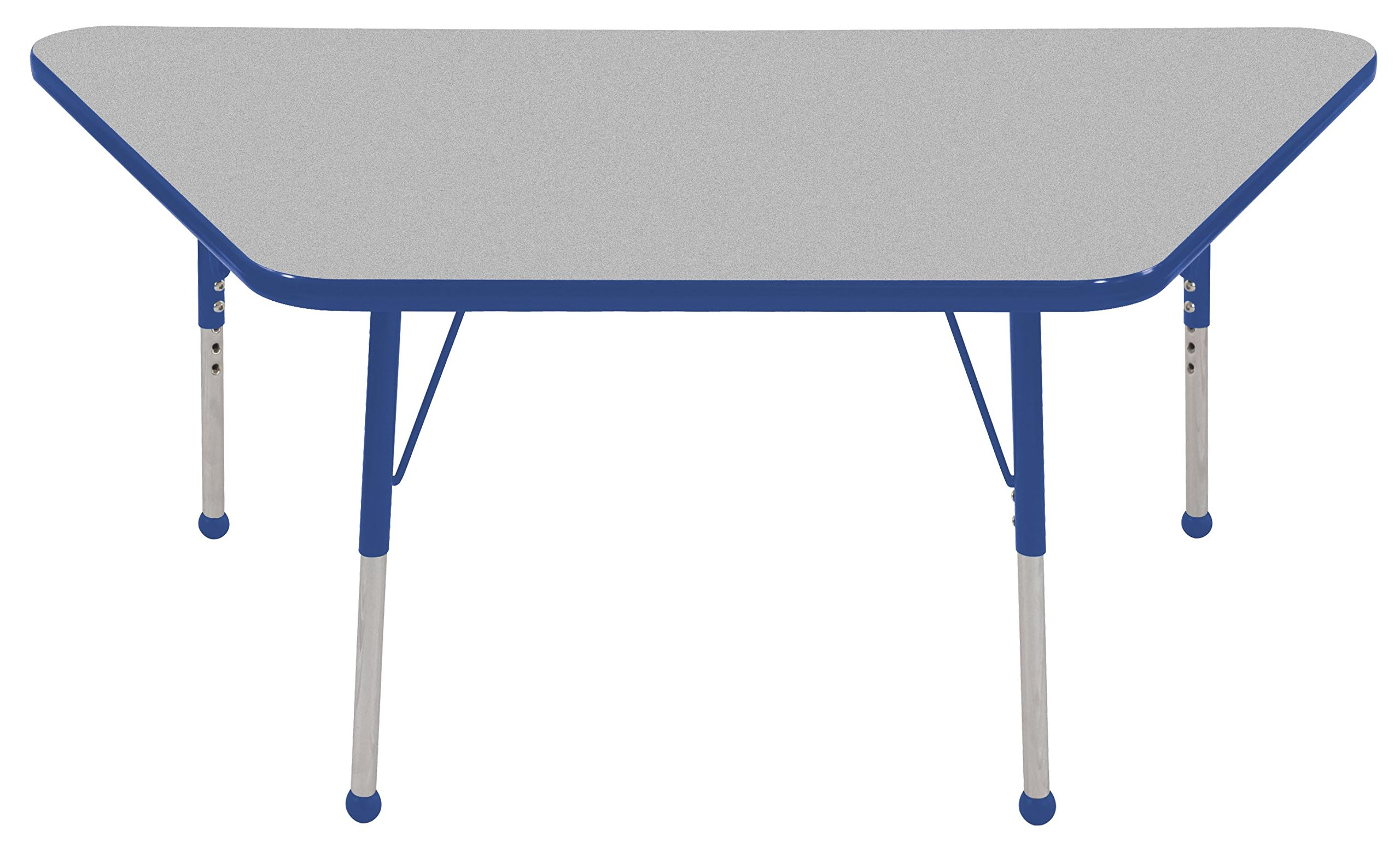 ECR4Kids Mesa Premium 30'' x 60'' Trapezoid School Activity Table, Toddler Legs w/ Ball Glides, Adjustable Height 15-23 inch (Grey/Blue)