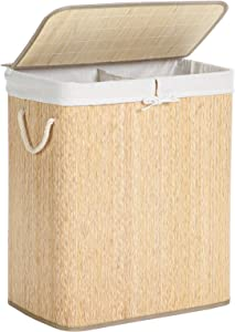 SONGMICS Bamboo Laundry Hamper with Lid, Two-Section Laundry Basket Sorter, 26 Gal (100L) with Liner and Handles, Rectangular, Wave-Like Pattern, Beige ULCB64NY