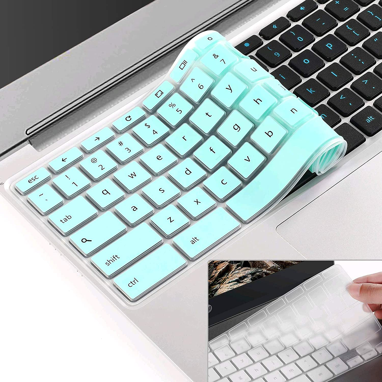 [2 pcs] Keyboard Cover Skin for Dell Chromebook 5190,Dell Chromebook 3100/3180/3189/3181/3120,dell chromebook Keyboard Cover 11.6 inch,dell chromebook 3380 Keyboard Cover 13.3 inch(Mint+Clear)