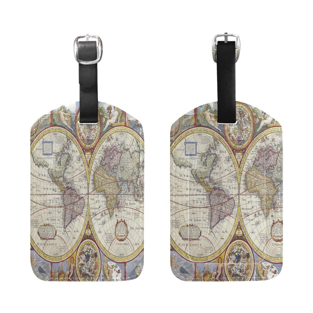 1Pcs Saobao Travel Luggage Tag World Map PU Leather Baggage Suitcase Travel ID Bag Tag