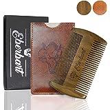 Eberbart Peigne à barbe en bois antistatique avec étui en simili-cuir - Pour une barbe bien entretenue (Bois de santal)