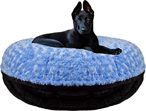 Bessie and Barnie Signature Black Puma Blue Sky Extra Plush Faux Fur Bagel Pet Dog Bed Multiple Sizes