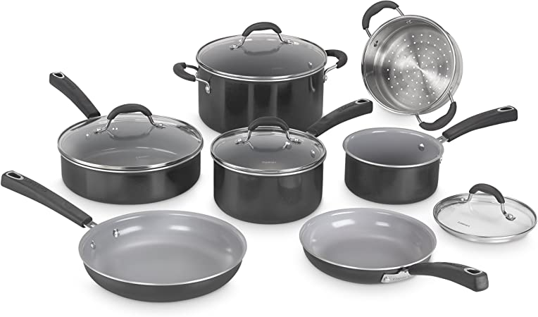 Cuisinart 54C-11BK Advantage Ceramica XT Cookware Set, Medium, Black