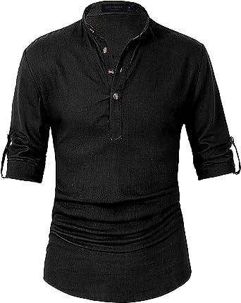 Leisurely Pace Henley - Camisa de Lino para Hombre (Manga Larga) - Negro - Medium: Amazon.es: Ropa y accesorios