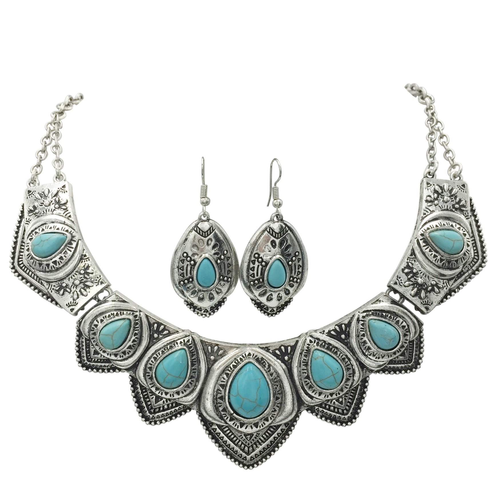 Western Style Imitation Turquoise Necklace and Earrings Set (Silver Tone Scalloped) by Gypsy Jewels