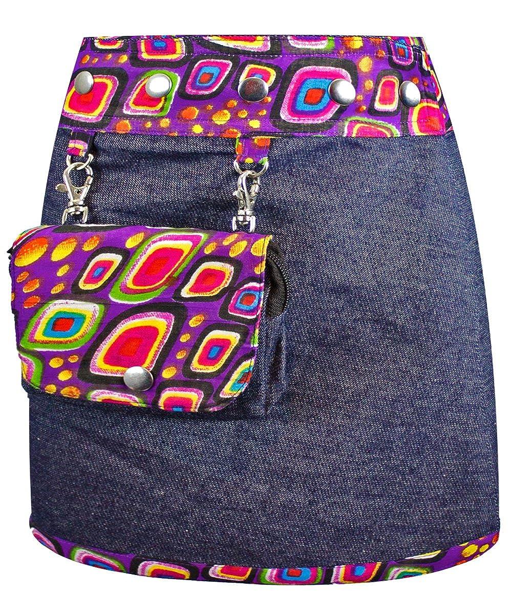 SUNSA Kinder Rock Jeansrock Minirock Wickelrock Wenderock Sommerrock Kinderrock aus Baumwolle, Zwei optisch verschiedene Röcke mit einem abnehmbaren Täschchen, Größe ist variabel verstellbar dazu Grat 15496
