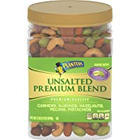 PLANTERS Unsalted Premium Nuts, 34.5 oz. Resealable Container - Contains Roasted California Pistachios, Cashews, Almonds…