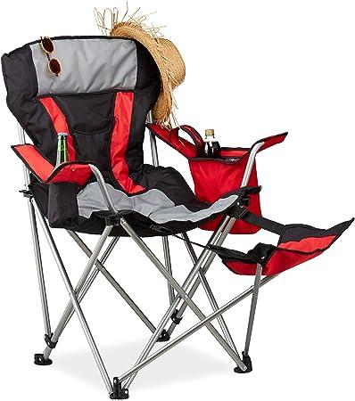 Relaxdays Fauteuil de pêche Pliant Chaise de Camping Pliable Porte Boissons Repose Pieds, 150 kg, Noir Rouge