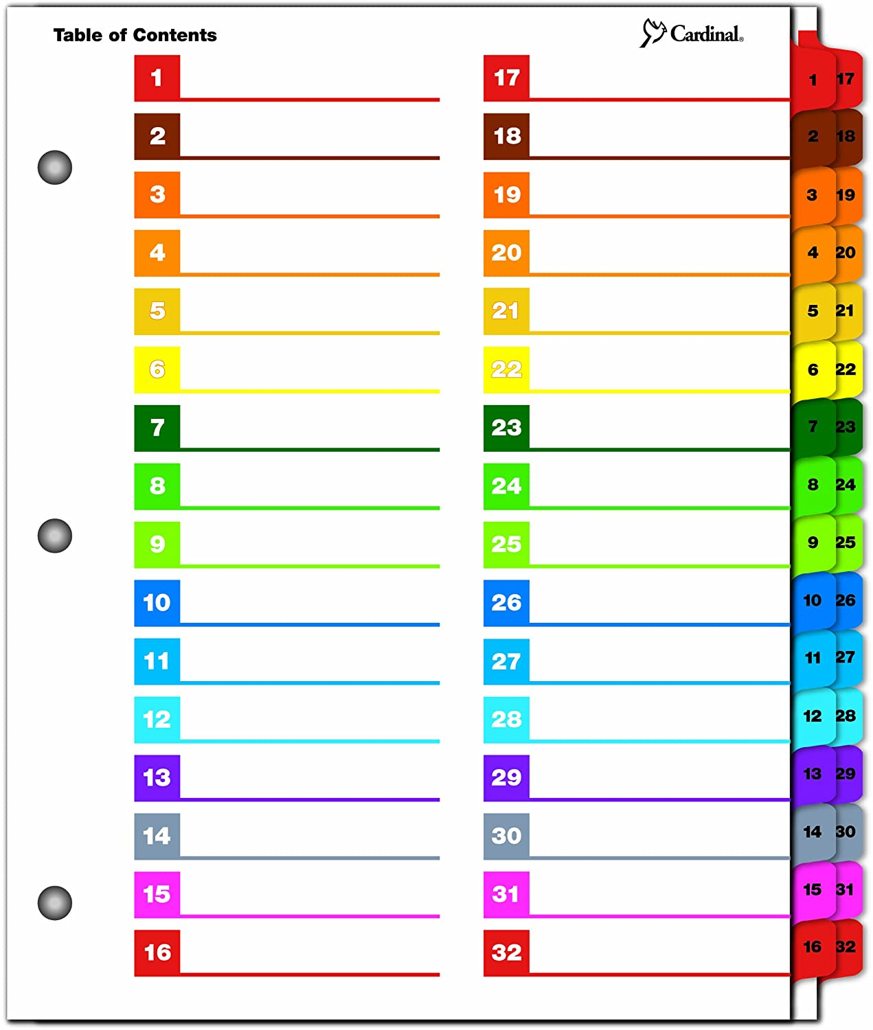 Cardinal OneStep Printable Table of Contents and Index Dividers, 24-Tab, Numbered, Multi-Color (60960)