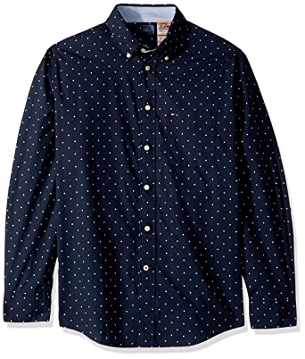 384a08db Tommy Hilfiger Men's Adaptive Magnetic Long Sleeve Button Down Shirt Custom  Fit, Blue Dot,