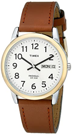 d46cae5ca Amazon.com: Timex Men's T20011 Easy Reader Brown Leather Strap Watch ...