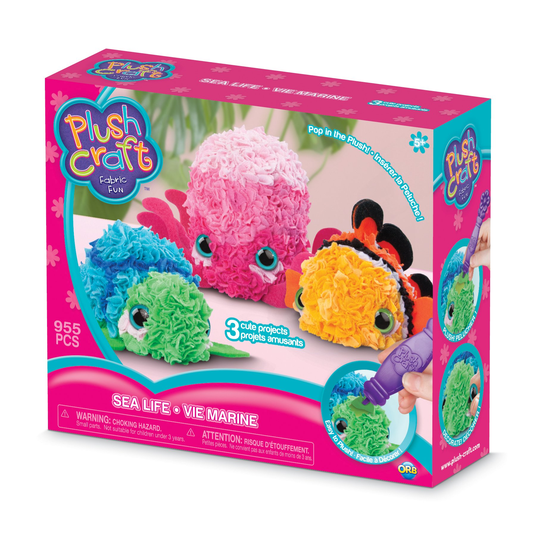THE ORB FACTORY LIMITED 10027971 Plush Craft 3D Sea Life Mini, 10'' x 3'' x 8.5'', Pink/Green/Orange/Blue/White/Black by THE ORB FACTORY LIMITED
