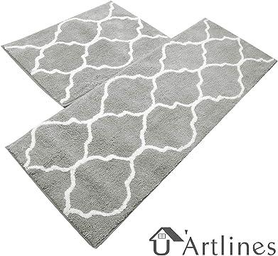 18x30Inch, Bonsai White Comfort Heavy Duty Standing Mats UArtlines Anti Fatigue Kitchen Floor Mat Waterproof PVC Non Slip Washable for Indoor Outdoor