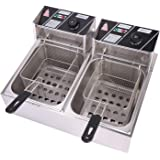 OLYM STORE Electric Deep Fryer w/Basket & Lid, Countertop Kitchen Frying Machine, Stainless Steel French Fryer for…