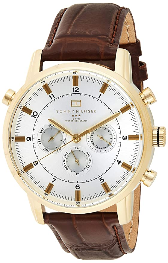 Buy Tommy Hilfiger Men S 1790874 Gold Tone Watch With Brown