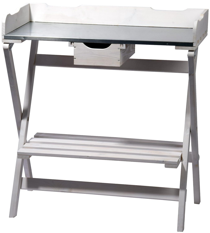 dobar klappbarer Pflanztisch aus Holz mit verzinkter Metall-Arbeitsfläche, Gärtnertisch mit praktischer Schublade, 80 x 40 x 84 cm, weiß weiß 57028FSCe