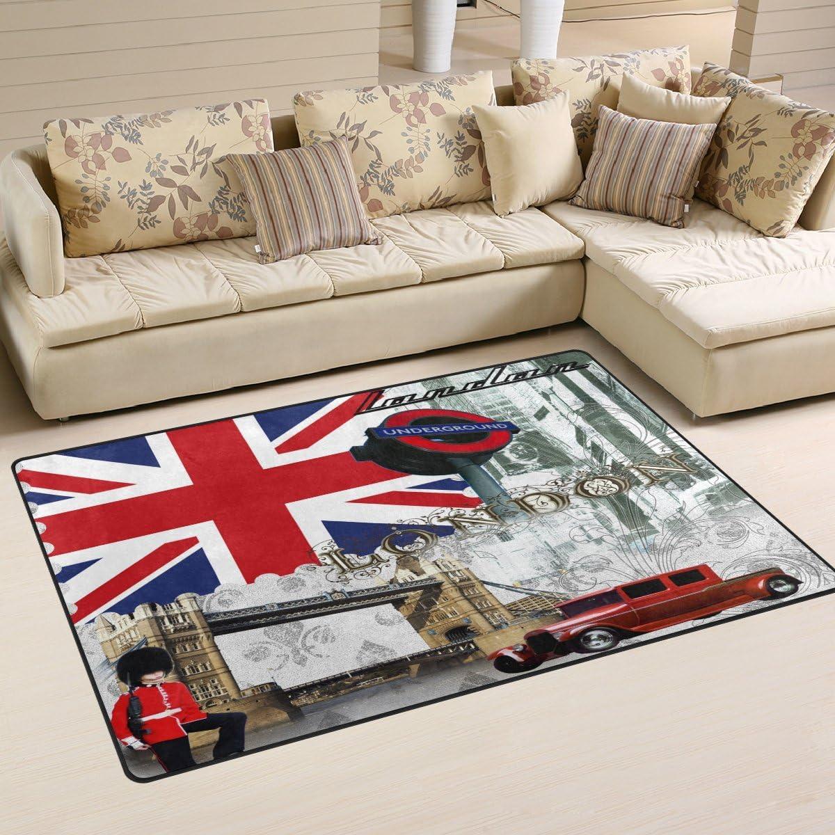 Naanle Cocina 50 x 80 cm 50 x 80 cm Alfombra Antideslizante para sal/ón Dormitorio 1.7 x 2.6 dise/ño de la Bandera brit/ánica de Londres Comedor