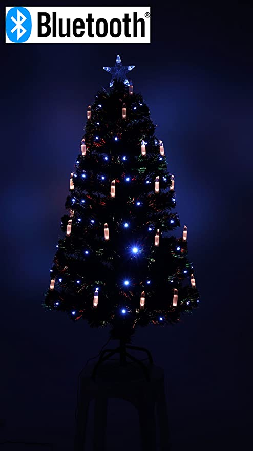 Black Fibre Optic Christmas Tree with White Leds, Candle  Decoration.Bluetooth Speaker (6FT - Black Fibre Optic Christmas Tree With White Leds, Candle Decoration