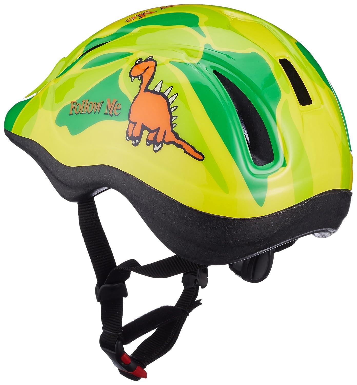 Casco Fahrrad Kinderhelm Fahrradhelm Follow Me Dino gelb grün Gr S Amazon Sport & Freizeit