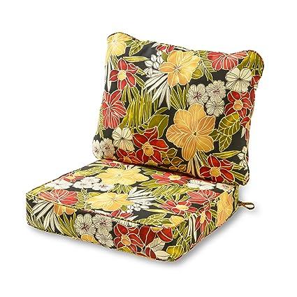 Incredible Greendale Home Fashions Deep Seat Cushion Set Aloha Black Evergreenethics Interior Chair Design Evergreenethicsorg