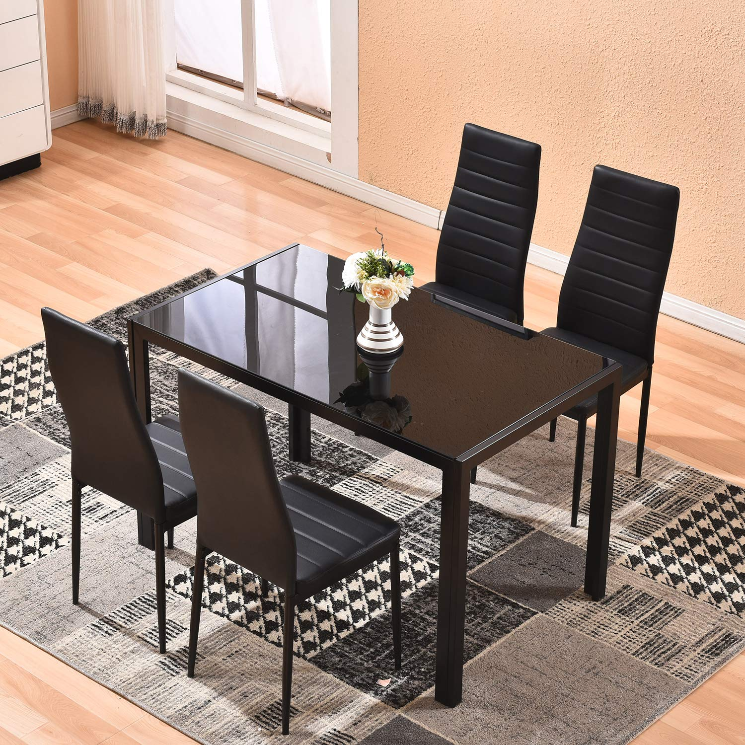 Dining Table with Chairs,4HOMART 5 PCS Glass Dining Kitchen Table Set Modern Tempered Glass Top Table and PU Leather Chairs with 4 Chairs Dining Room Furniture Black