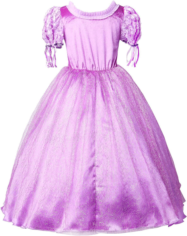 IBAKOM Raiponce Deguisement Fille Robe Enfant Costume Cosplay Manche Courte Col carr/é Dentelle Paillette Jupe Tulle Festival F/ête Carnaval D/éguis/é