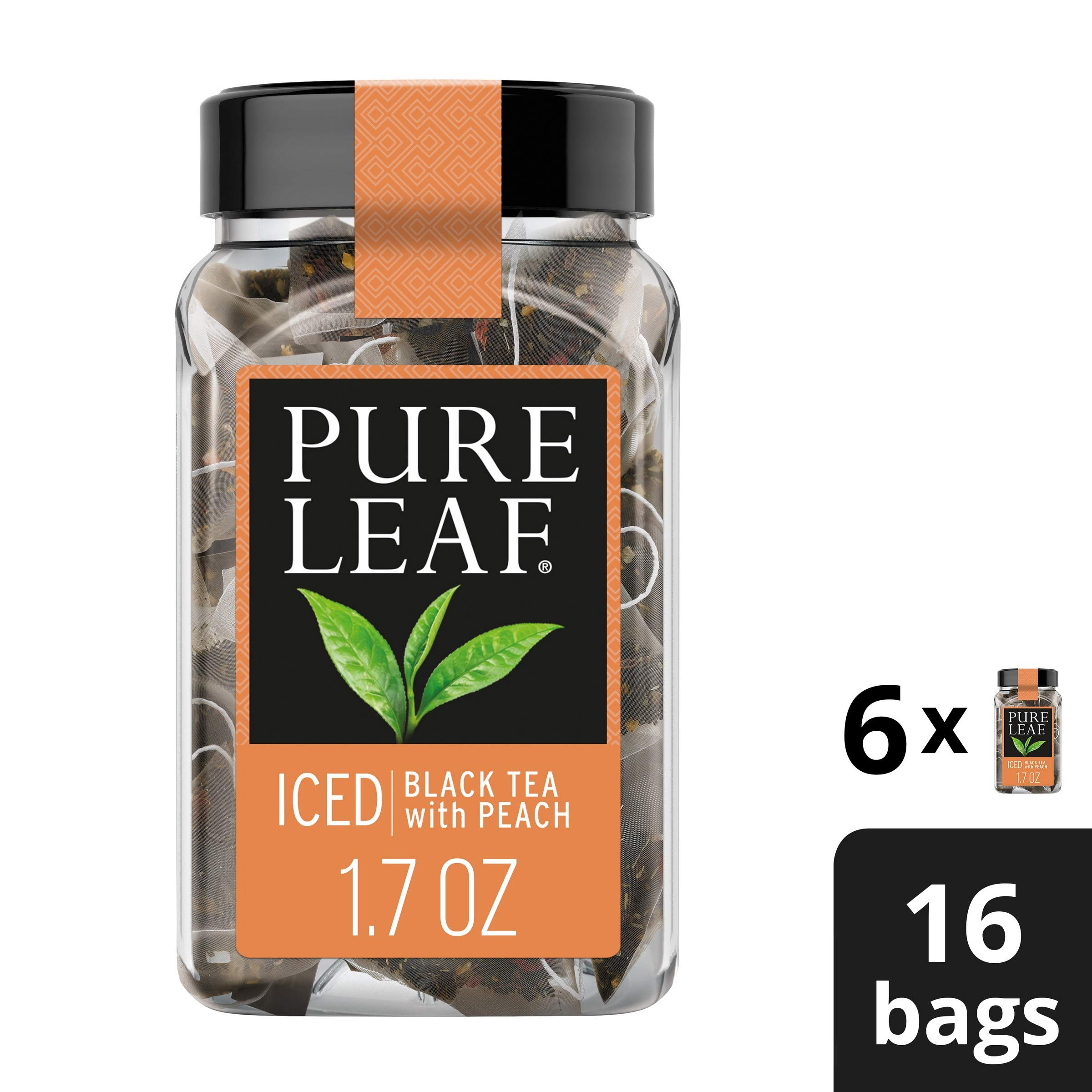 Pure Leaf Iced Tea Bags, Black Tea with Peach, 16 ct (Pack of 6)