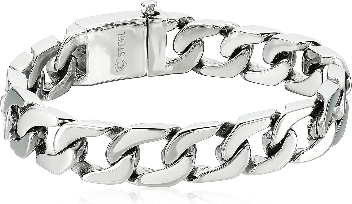 Crucible Jewelry Mens Stainless Steel Polished Box Clasp Curb Chain Bracelet -8.5-Inch (15.5 mm), White