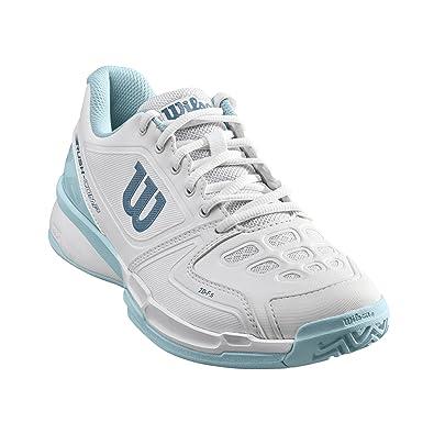 Wilson Femme Chaussures de Tennis, Convient aux Joueurs de Tout Niveau, pour Tout Type de Terrain, Rush COMP W, Tissu Synthétique, Violet/Corail (Pastel Lilac/Fiery Coral/White), Taille: 37