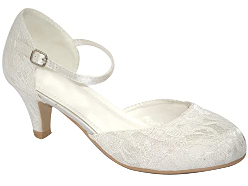 22749e6ba19 S30488 New Ladies Ivory Lace Mary Jane Ankle Strap Low Kitten Heel Bridal  Court Shoes (
