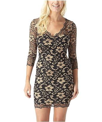 7cd808ddfa6a0 Joe Browns Women's Sexy Scallop Lace Dress Black/Gold (12): Amazon ...
