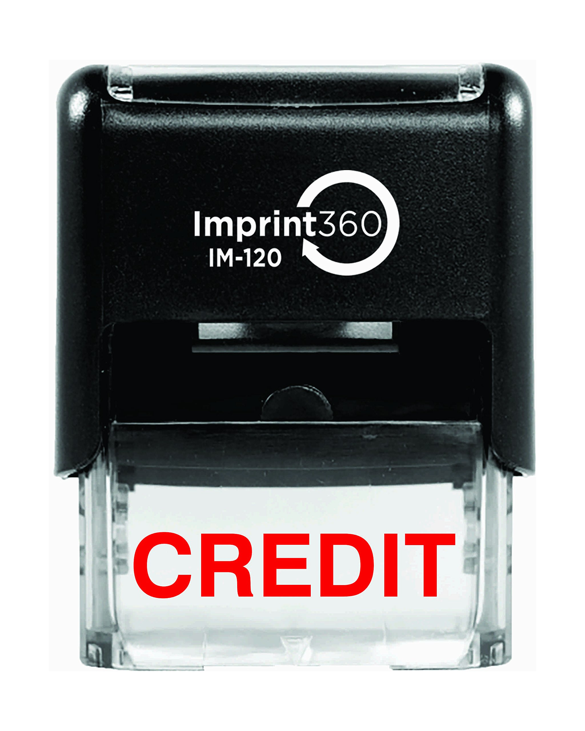 Imprint 360 AS-IMP1086''CREDIT'' Heavy Duty Commercial Quality Self Inking Rubber Stamp, Solid Text, Laser Engraved for Clean, Precise Imprints, 1/2'' Impression Size, 9/16'' x 1'', Red Ink