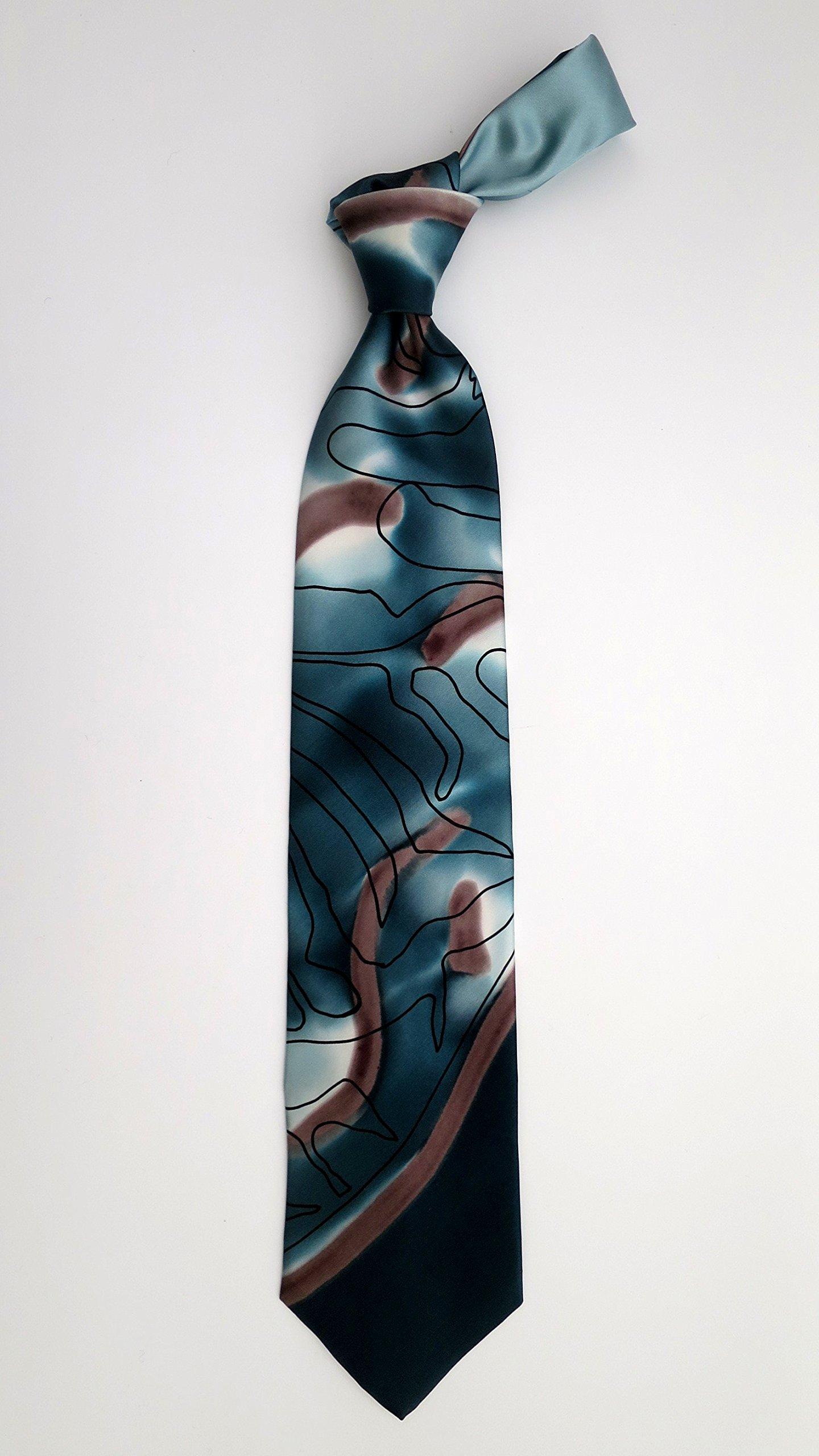 100% Silk Hand-Painted Hand-Made Men's Necktie ''Reptile'' Art to Wear by Murphyties by Murphyties Inc.