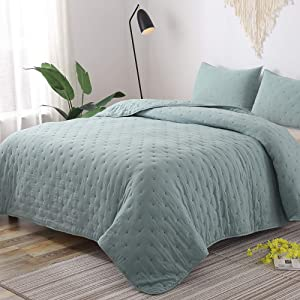 GOONE Super Soft Lightweight Bedding Quilt Sets,Filling with Skin Friendly Breathable Hydrophillic Down Alternative, Multipurpose As Bedspread Thin Comforter with 2 Shams Solid Color