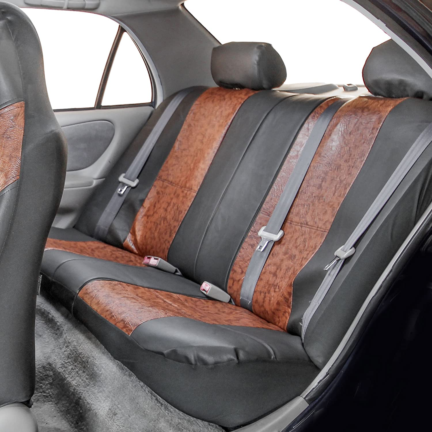 Truck Solid Beige Color- Fit Most Car or Van FH GROUP FH-PU160217 PU Textured High Back Leather Car Seat Covers Airbag compatible and Split Bench Suv