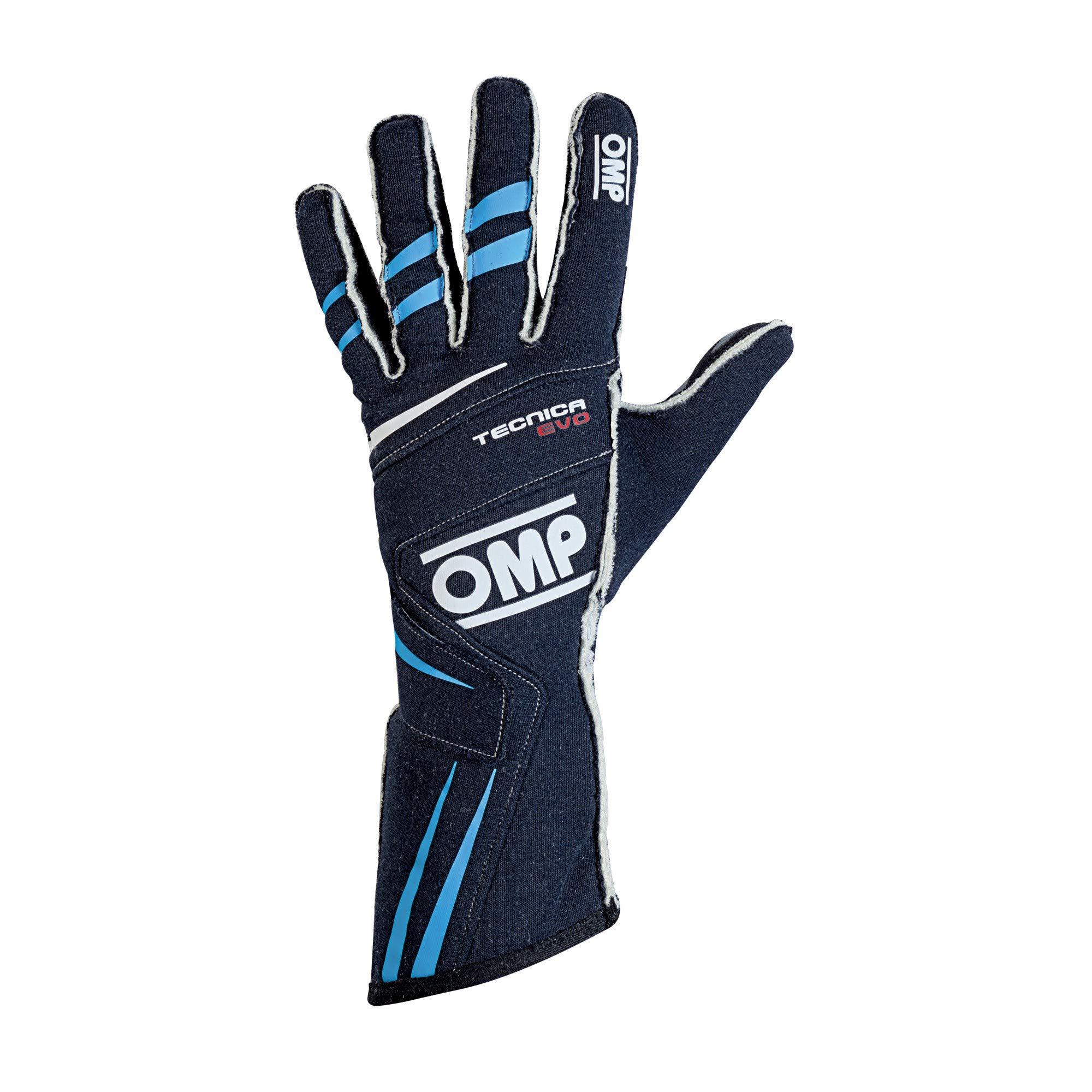 OMP Tecnica Evo Racing Gloves (Size Large, Navy/Cyan)