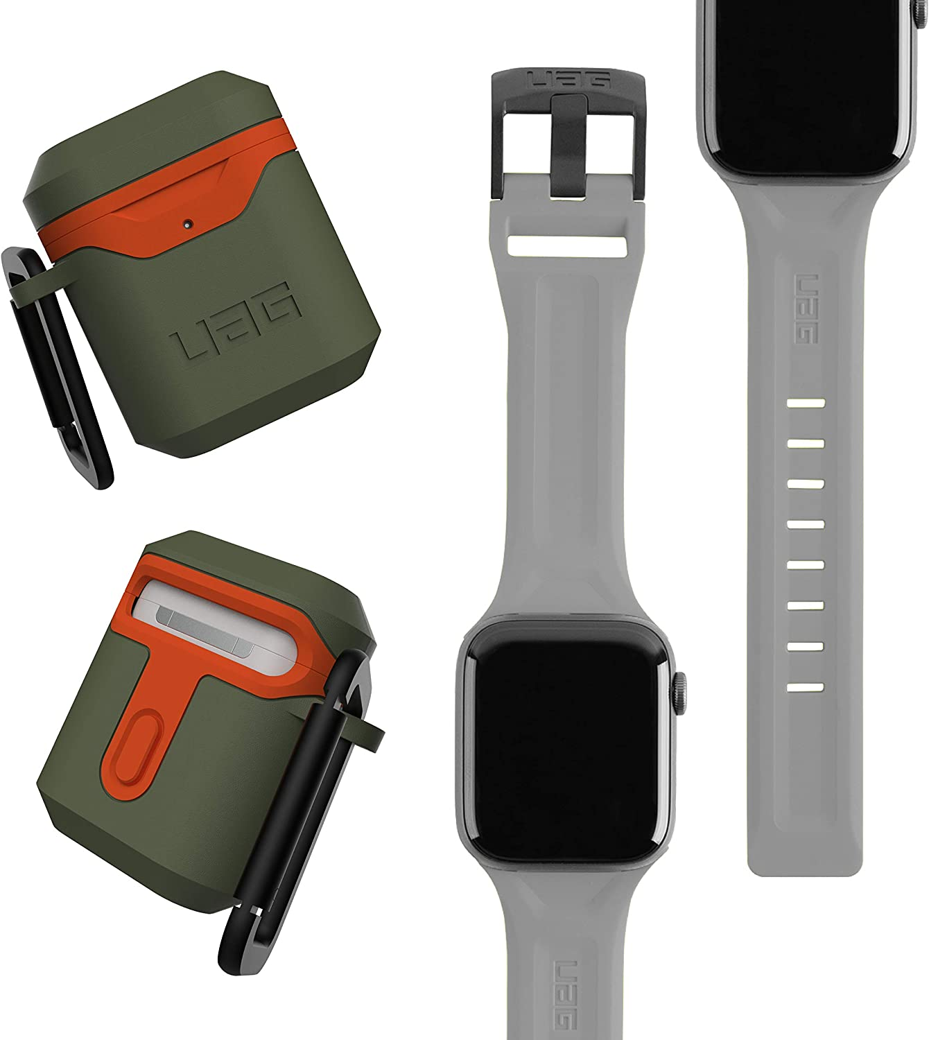 UAG Apple Watch Band 44mm 42mm, iWatch Series 6/5/4/Watch SE Replacement Strap, Scout Silver + AirPods (1st & 2nd Gen) Case with Detachable Carabiner, Olive/Orange