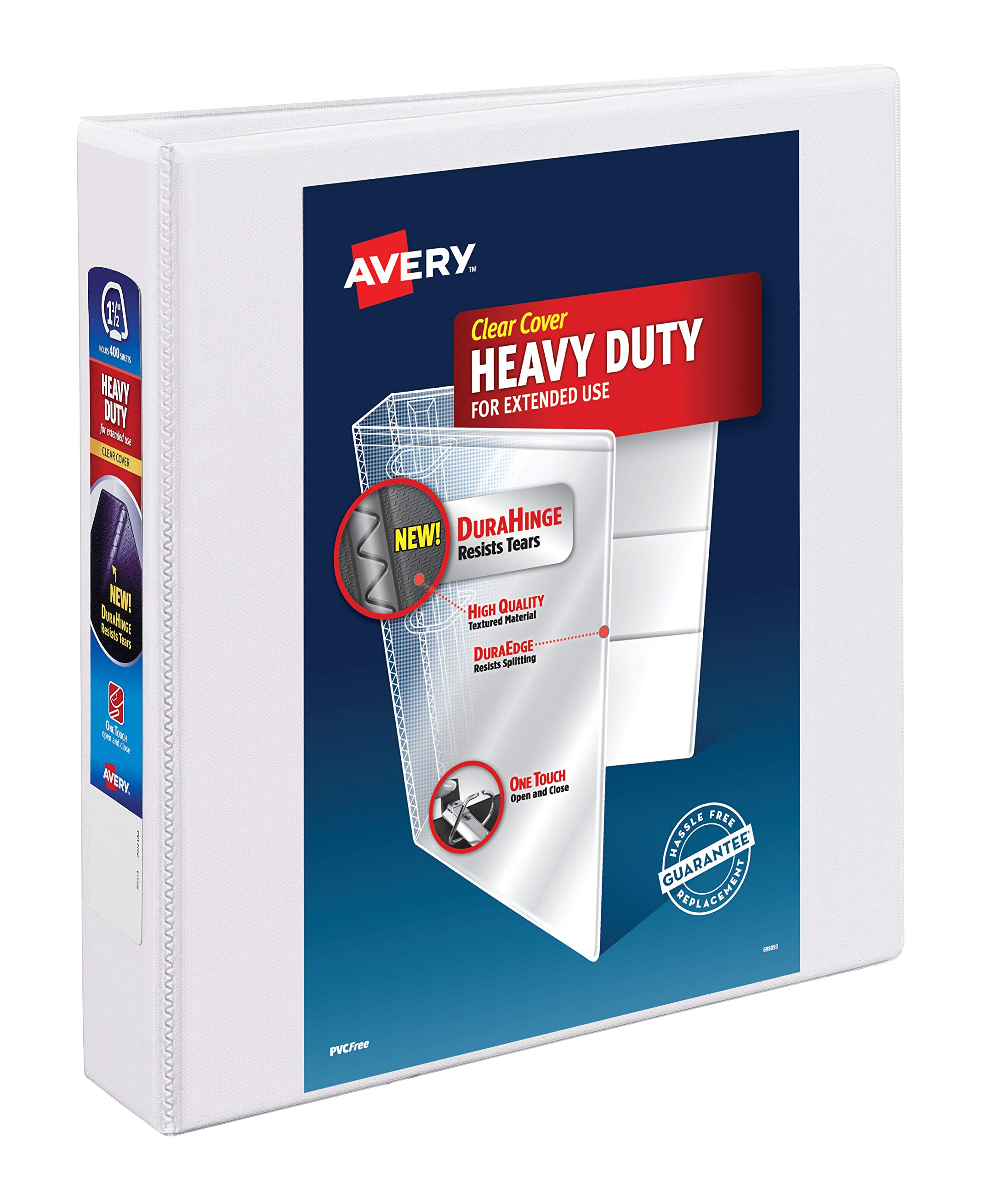 Avery Heavy-Duty View Binder, 1-1/2'' One Touch Slant Rings, DuraHinge, 12 White Binders (79795) by AVERY
