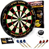 Ignat Games Professional Dartboard Kit - Bristle/Sisal Tournament Dart Board with Complete Staple-Free Blade Wire Spider + 6 Steel Tip Darts + Darts Measuring Tape +35 Ways to Play Darts Guide
