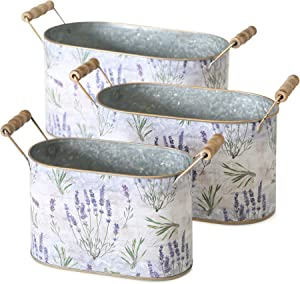 WHW Whole House Worlds Lavender de Provence Cache Pot Planters, Set of 3, Oval, French Country Botanicals, Zinc, Rustic White, Purple, Green, Wood Handles, Rolled Rims