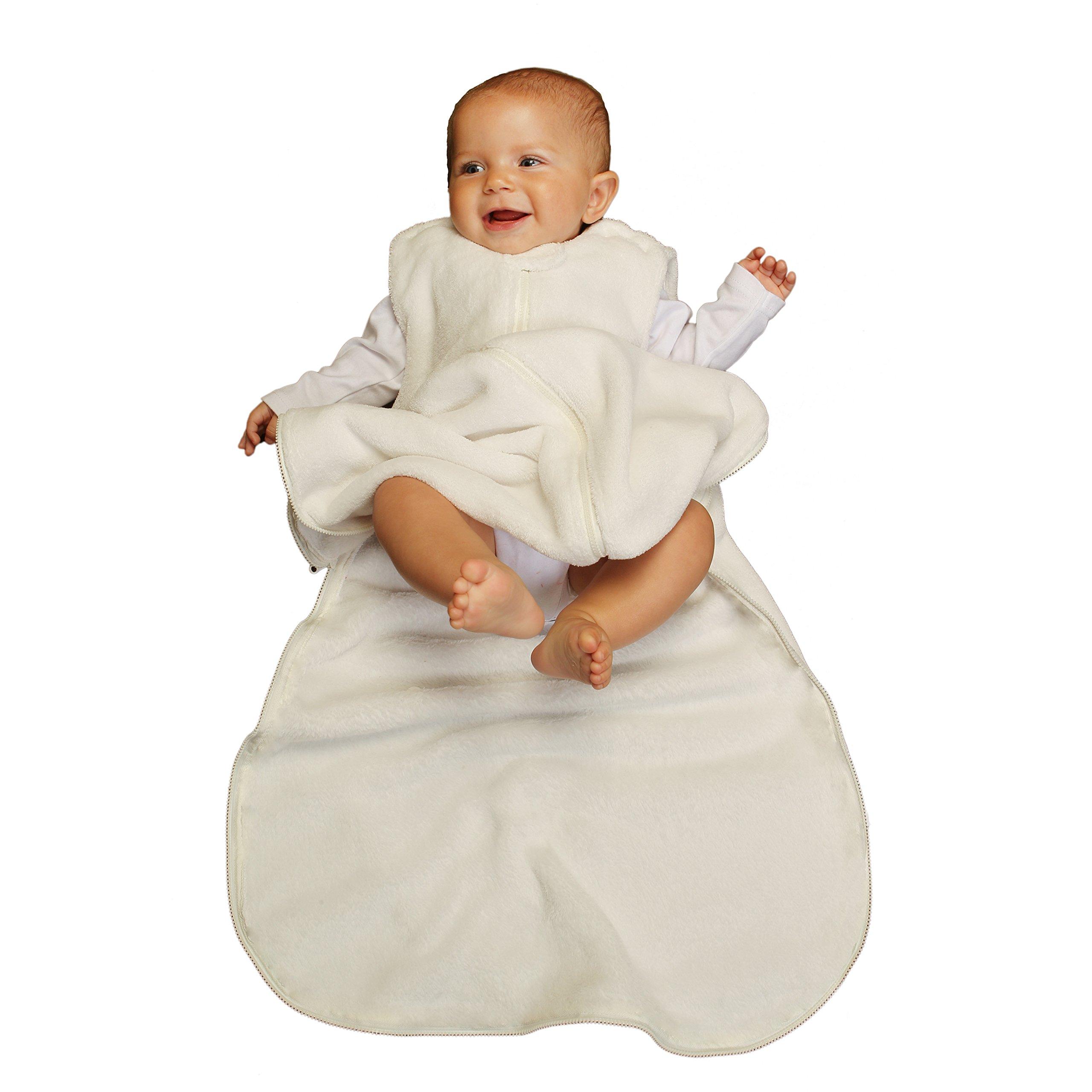Gunapod Unisex  Fleece Wearable Blanket Baby Sleeping Bag 9-18 months, Milk White