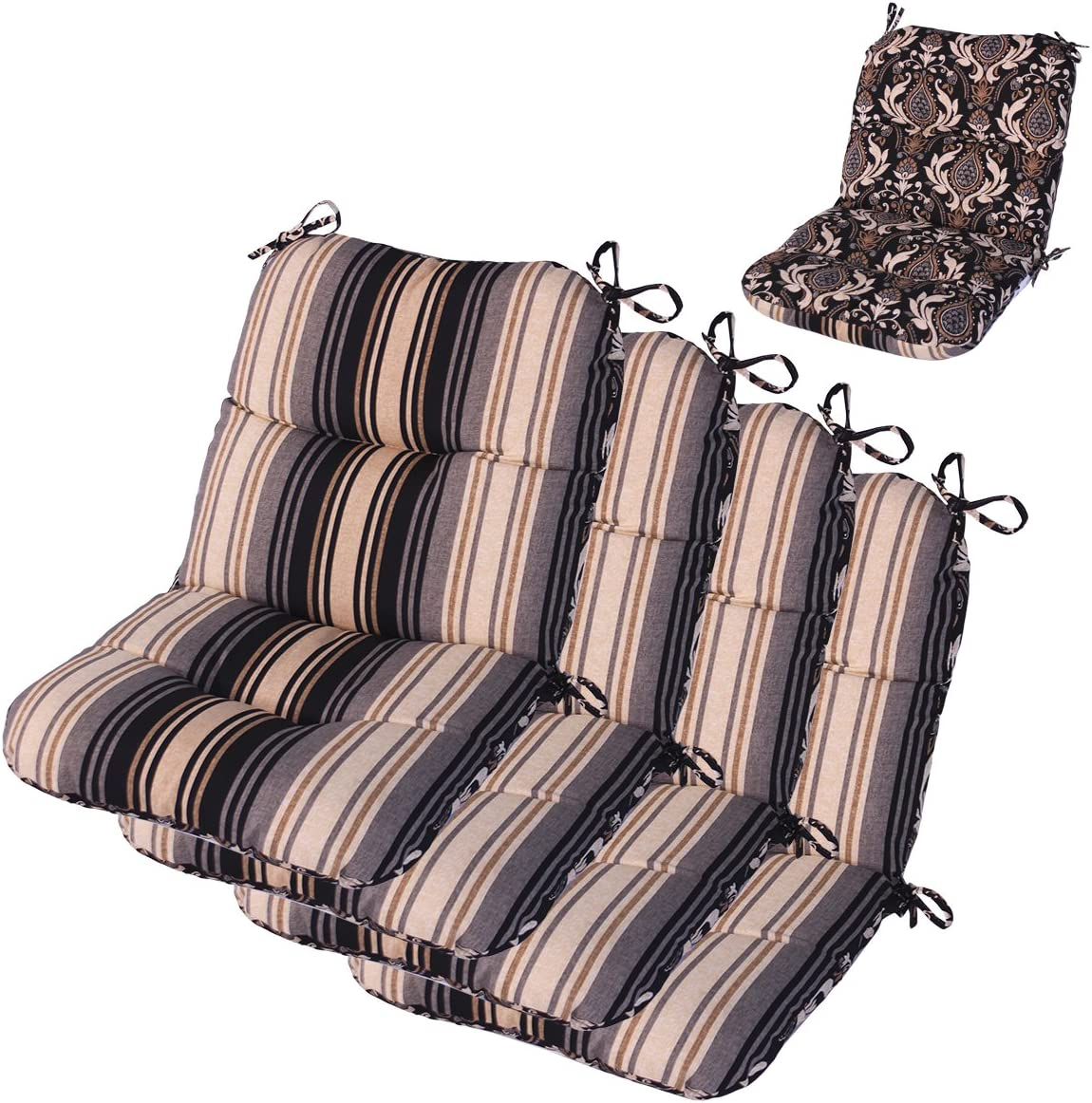"""Comfort Classics Inc. Set of 4 Mid Back Outdoor Reversible Dining Chair Cushion 20"""" x 36"""" x 3"""" H-19 in Polyester Fabric Mainstreet Stone"""